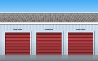 garage storage units with roller doors front view