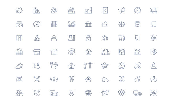 Industry Vector line icon set