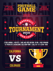 modern professional sports design poster with baseball tournament in red theme