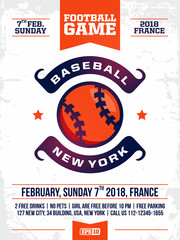 modern professional sports design poster with baseball tournament in white theme