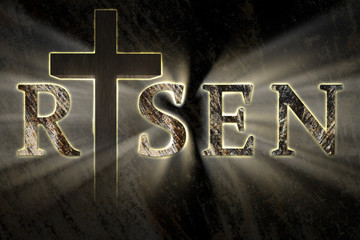 Easter background with Jesus Christ cross and risen text written, engraved, carved on stone, with light coming from behind. Christian, religious Easter card. resurrection, belief, new life concept