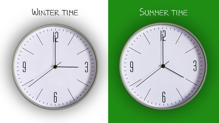 Concept is the transition to summer time. Cock on white and green background.