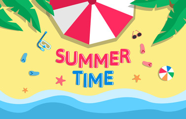 summer time banner design.beach top view