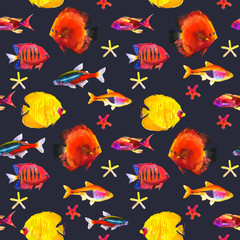 Seamless pattern with tropical fish. Watercolor illustration with hand drawn aquarium exotic fish on black background.