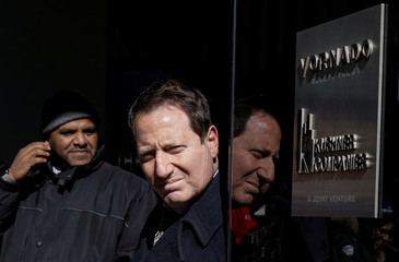 Building security personnel stand outside 666 5th Avenue following a news conference regarding the Kushner Companies allegedly falsifying work permits with the City's Department of Buildings, in New York