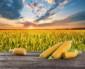 Corn on wooden table
