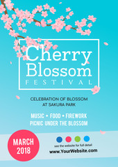 Wall Mural - Cherry Blossom Festival Poster vector illustration. Sakura branch with petals falling against bright blue sky background.