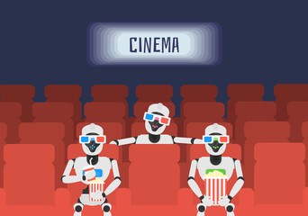 robots humanid watching movie in cinema theater with 3d glasses