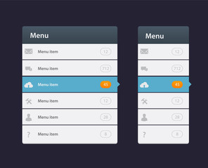 Web site design menu navigation elements with icons set