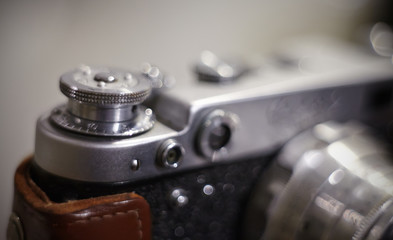Background with the vintage analog film camera