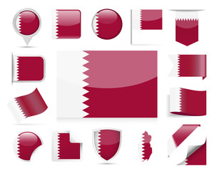 Qatar Flag Vector Set