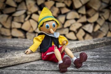 Old wooden pinocchio pupett marionette toy