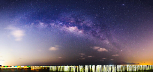 Milky way at the sea in dark night / Panorama of milky way at the sea