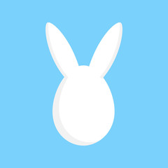Cute easter egg with bunny ears, vector graphic illustration isolated on blue background.