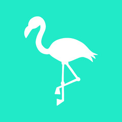 Mint background with white flamingo silhouette, summer tropical flamingo vector illustration.