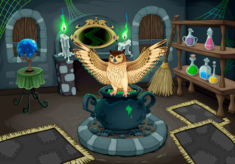 The witch room with owl
