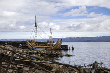 Traditional totora reed boat at Isla del Sol on Titicaca lake