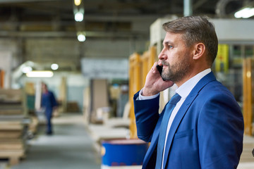 Waist up side view of handsome mature businessman speaking by phone in factory workshop with workers in background, copy space