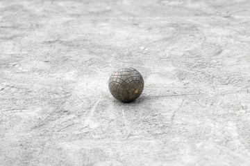 Bocce ball on the ground