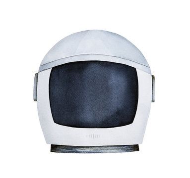 Space Helmet watercolour illustration. Single accessory. The black glass visor can be used as mock up for any text, quote or lettering. Hand drawn water color graphic paint on white, cut out clip art.