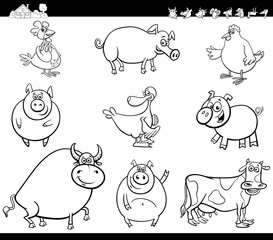 cartoon farm animals collection color book
