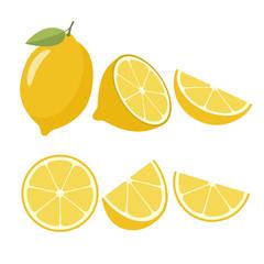 Lemons on a white background. Vector illustration