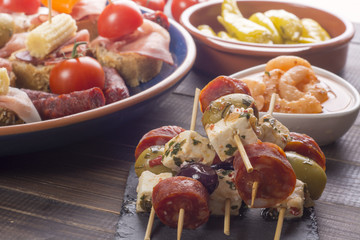 Small appetizers on skewers