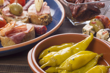 Pickled green peppers and tapas