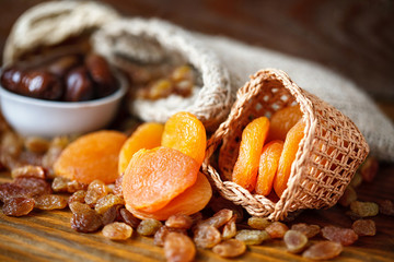 dry apricots and various dry fruit