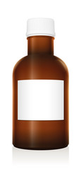 Medicine bottle. Dark brown glass vial with blank label and closed white plastic screw cap - isolated vector illustration on white background.