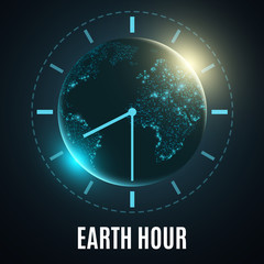 Earth Hour. Futuristic planet earth. 60 minutes without electricity. Sunrise. Global holiday. Abstract world map. Vector illustration