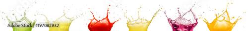Wall mural fruit juice splashes isolated on white background