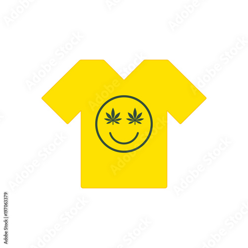 Marijuana Smiley Face Cannabis Smile Yellow Tee Shirt
