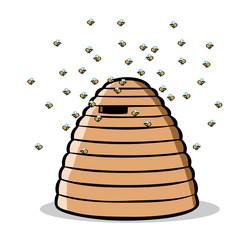 Bienen fliegen um natürlichen Bienenstock