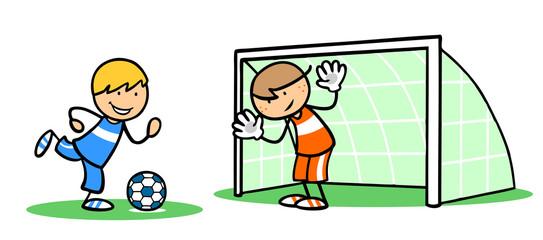 Kinder trainieren Fußball spielen mit Torwart