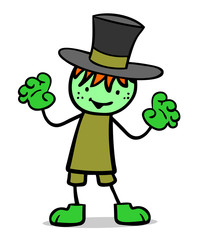 Kind im Kostüm als Frankenstein Monster zu Halloween