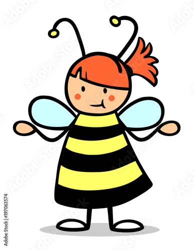 Madchen Im Biene Kostum Zum Fasching Stock Photo And Royalty Free
