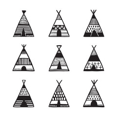 Scandinavian style hand drawn wigwams set. Vector vintage illustration.