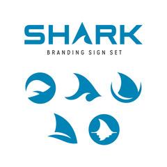 Shark branding signs set. Vector illustration.