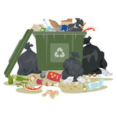 Garbage bin full of trash on white background.
