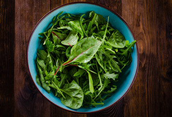 Fresh green salad with spinach,arugula, mangold and lettuce on dark wooden background
