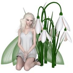Snowdrop Fairy Kneeling by Winter Flowers - fantasy illustration