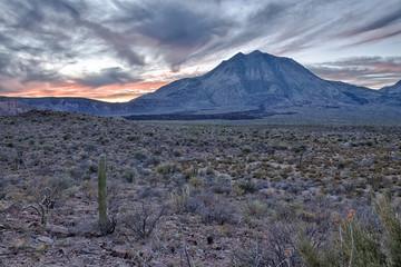 volcano Las Tres Virgenes Baja California Sur panorama at sunset
