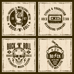 Rock and roll music four vintage style emblems