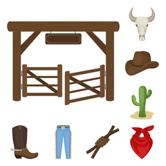 Rodeo, competition cartoon icons in set collection for design. Cowboy and equipment vector symbol stock web illustration.