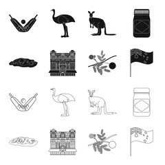 The palace of Queen Victoria, Mount Uluru, a flower of a mimosa, a national flag.Australia set collection icons in black,outline style vector symbol stock illustration web.