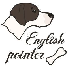 Head of English pointer dog breed vector sign. Doggy image in minimal style, flat icon. Simple emblem design for pet shop, zoo ads, label design, animal food package element. Gun dog image.