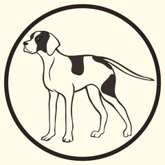 English pointer breed vector silhouette sign, symbol. Doggy sketch in minimal style icon flat. Dog outline logo. Simple emblem design for pet shop, zoo ads label design, animal food package element.