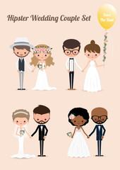 Hipster wedding couple set 02