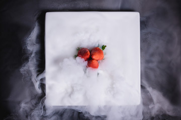 strawberries and dry ice